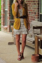 dark brown JCrew belt - tan TJ Maxx dress - mustard PacSun cardigan