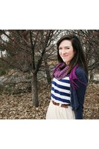 nude Forever 21 skirt - brown Madden Girl boots - magenta Gap scarf - navy top