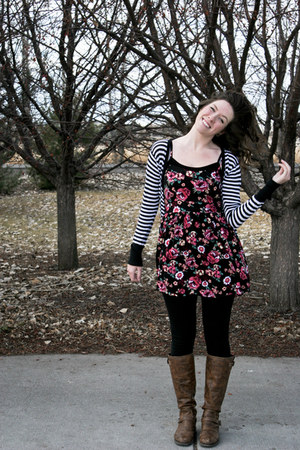 hot pink floral print dress - brown Madden Girl boots - black leggings