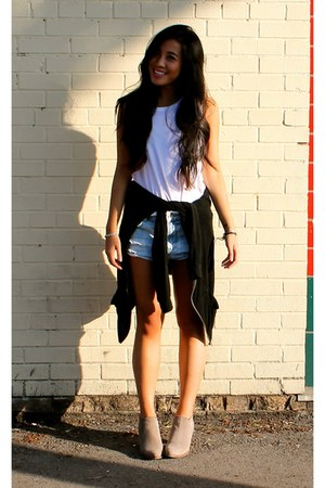light blue Zara shorts - white All Saints top