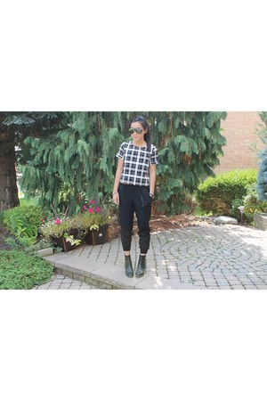 black Forever 21 shirt - black fall looks ann taylor pants