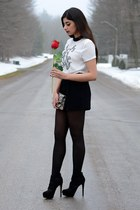 black Forever 21 shorts - tan Nine West bag - black Aldo heels