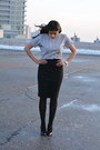 Heather-gray-cropped-mian-top-black-pencil-h-m-skirt