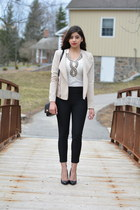 beige knit Forever 21 jacket - black chain Forever 21 bag