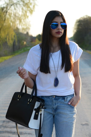light blue boyfriend Zara jeans - black satchel Target bag