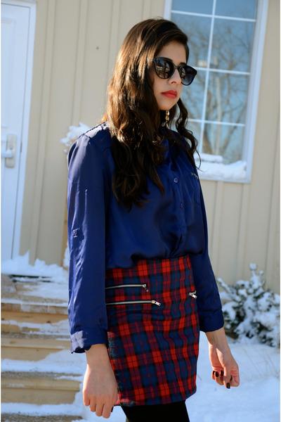 tartan mendocino skirt - Forever 21 sunglasses - red almond toe Guess heels