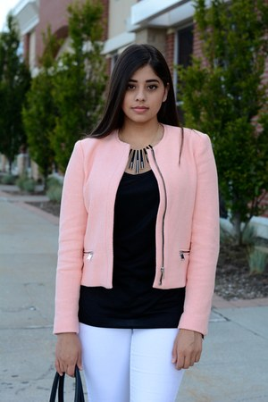 light pink Zara jacket - black rickis bag - black Zara heels