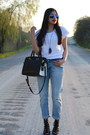 Light-blue-boyfriend-zara-jeans-black-satchel-target-bag