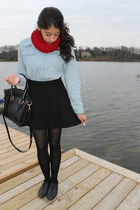 red circle Boohoo scarf - sky blue denim shirt shopbopcom top