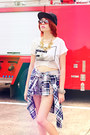 Hot-pink-dc-skater-shoes-black-bulls-hat-periwinkle-tattered-jean-shorts