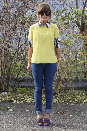 black  white vintage blouse - H&M jeans - yellow vintage top - vintage necklace