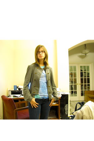 silver Fossil jacket - blue delias shirt - blue MORGAN jeans