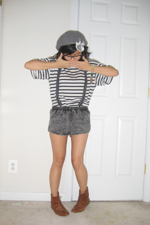 thrift shirt - H&M accessories - American Apparel shorts - Jeffrey Campbell boot