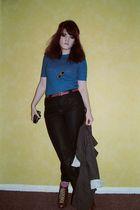 blue vintage sweater - blue Ebay pants - brown Topshop boots - green LLROK neckl