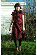 red vintage dress - black God knows tights - brown Accesorize necklace - green H