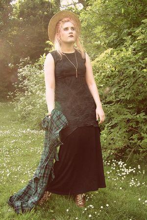 black thrift dress - black new look dress - green Uniqlo shirt - beige thrift ha