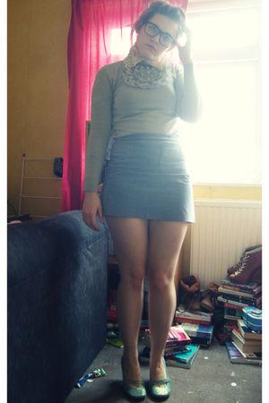 purple vintage skirt - silver HK jumper
