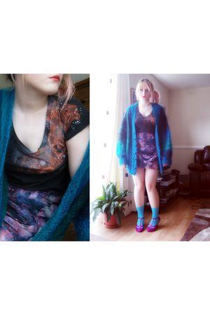 gray DIY t-shirt - purple Topshop skirt - blue  socks - purple vivienne westwood