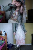 blue H&M hat - pink thrifted skirt - white random from Hong Kong skirt - white r