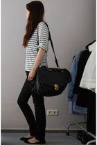 black H&M jeans - black messenger bag vintage - black ballet flats Buffalo