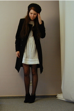 black Zara coat - black H&M belt - white Zara dress - black Buffalo - H&M tights