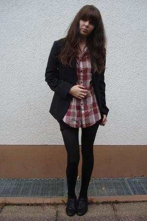 American Apparel dress - vintage blouse - goertz shoes - second hand blazer
