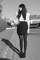 black American Apparel skirt - black Zara coat - white H&M blouse