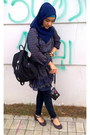 Navy-cotton-made-in-japan-scarf-black-backpack-daierni-bag