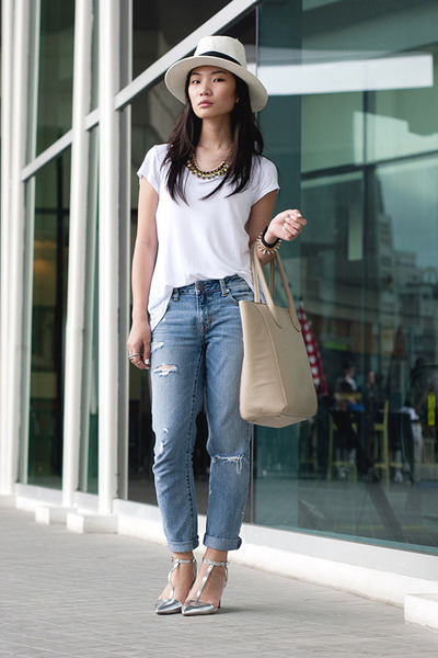 tote H&M bag - metallic heels Zara heels