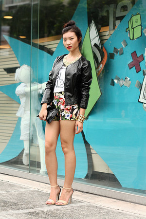 leather jacket - floral print shorts - heels