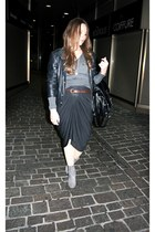 heather gray suede max shoes boots - black leather jacket NavyBoot jacket - blac