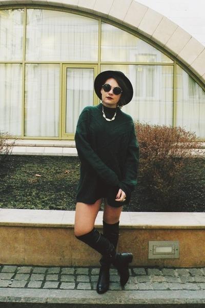 dark green Incity jumper - black la moda boots - black SIX sunglasses
