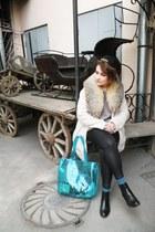 ivory faux fur pull&bear coat - black c&a hat - turquoise blue Aeropostale bag