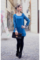 blue new look dress - black New Yorker boots - black H&M leggings