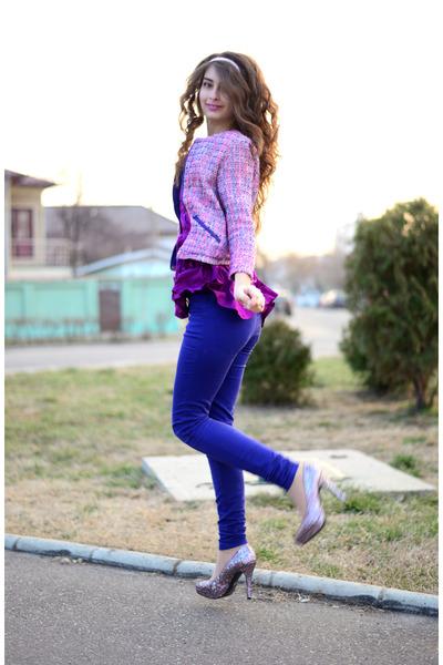mauve H&M top - glitter H&M shoes - purple H&M jacket - blue new look pants