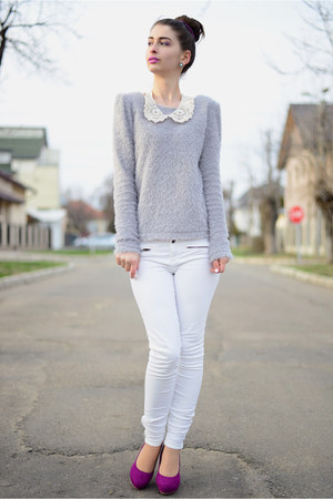 fluffy romwe sweater - H&M shoes - pull&bear pants - new look necklace