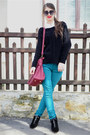 Black-new-yorker-boots-black-h-m-sweater-ruby-red-pull-bear-bag