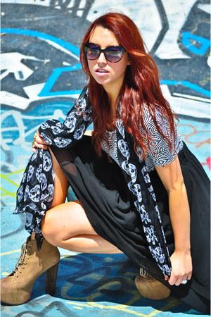 skull thrifted scarf - spiral American Apparel dress