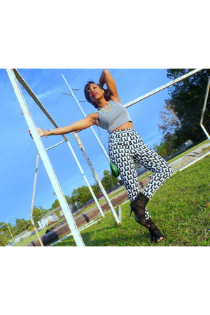 checkered Forever 21 top - caged Guess heels - Forever 21 pants
