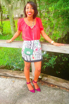 printed Ross skirt - purple purple Zara heels - red coral Ross top