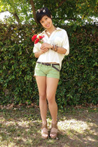 neutral button up loose papaya top - lime green hollister shorts