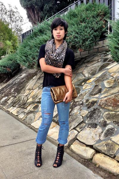 DIY jeans - leopard print H&M scarf - tie up booties BCBG heels