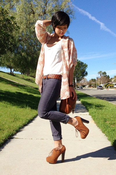 kimono cotton on top - rust booties Charlotte Russe heels