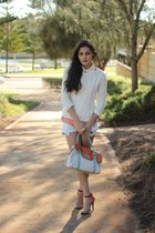 white cable knit Dotti sweater - ivory color block unbranded bag