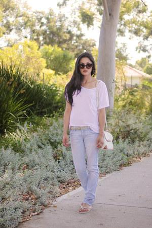 light blue riders Lee jeans - white pocket MinkPink shirt