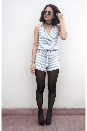 striped romper - shiny pumps