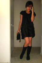 Wet Seal capelet top - Adrianna Papell dress - Steve Madden boots shoes - Chanel
