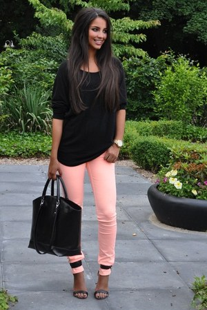 Forever 21 shirt - bubble gum H&M tights - black Zara bag - Michael Kors watch