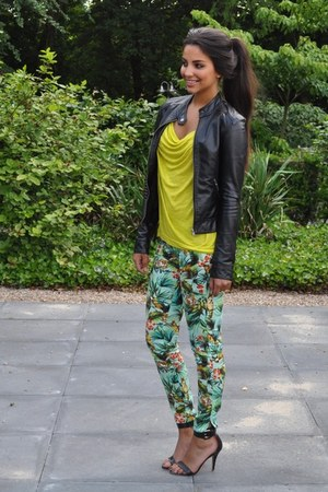 chartreuse Zara pants - yellow H&M top - black Mango sandals