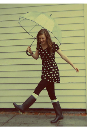 polka dot H&M dress - rain Payless boots - Urban Outfitters accessories